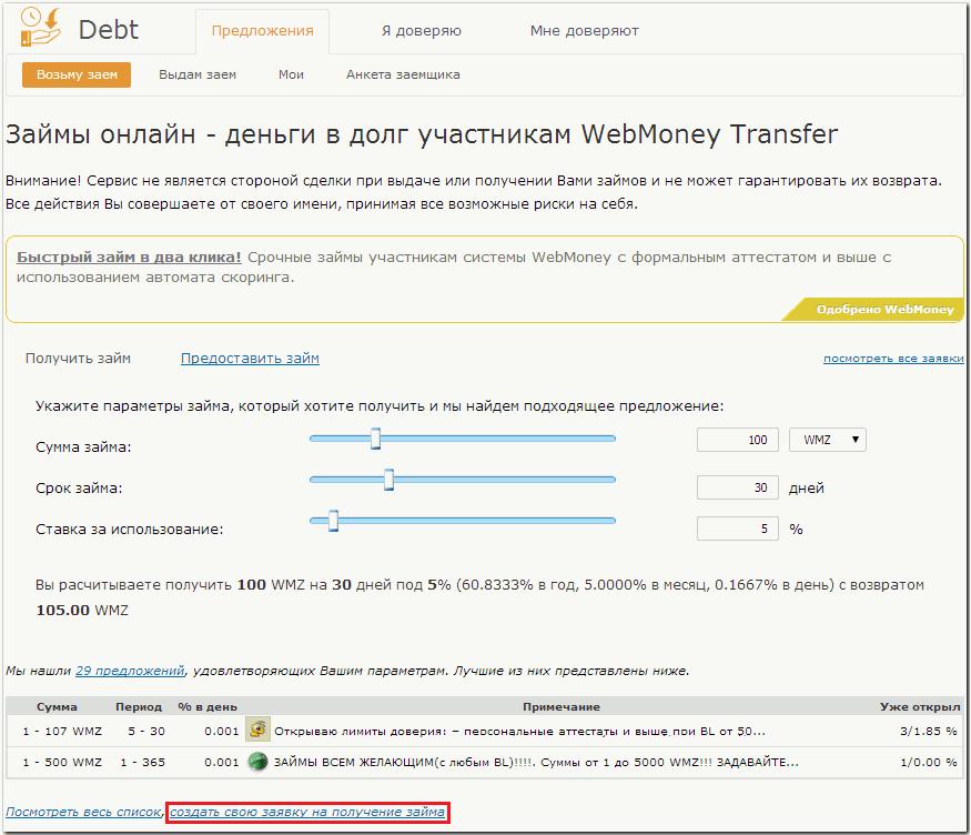 Порядок создания заявки на получение займа - WebMoney Wiki